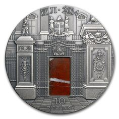 2014 Fiji 3 oz $10 silver coin - Masterpieces in Stone: The Blue Drawing Room (Rosso Le insert).