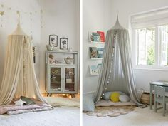 Child's Ecru Cotton Bed Canopy with Pom Poms Tropicool