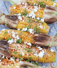 Mexican Grilled Corn smothered in Cilantro Butter, Feta Cheese/Cotija ...