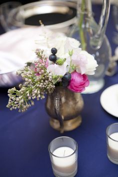 Blueberries would be perfect around lanterns for a pop of blue to match! Love! Bright pink dresses and flowers like this?