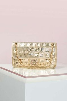 Vintage Chanel Ice Cube Gold Leather Bag - Vintage Chanel Bags