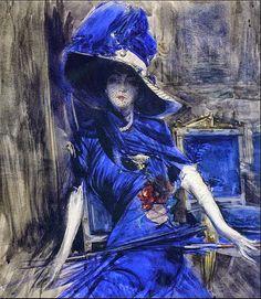 Giovanni Boldini - The Divine in Blue, early 1900's