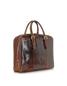 attache MANDEL | Brown leather business bag Unique, Italian calfskin - FREE shipping pochette TINA small x  briefcase body bag