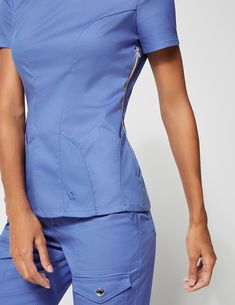 Petal Pocket Top in Ceil Blue - Medical Scrubs by Jaanuu Scrubs Outfit, Scrubs Uniform, Medical Uniforms, Work Uniforms, Scrubs Pattern, Stylish Scrubs, Medical Scrubs, Nursing Clothes, Scrub Pants