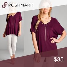 Hi Lo Short Sleeve Tunic in Gorgeous Wine 🍷 Super soft to the touch! Gorgeous color that can be styled so many ways!! Brand new! WILA Tops Tunics