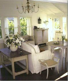 windows, lilies, white painted walls and ceiling