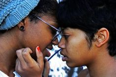 fuckyeahlesbians:    [image: two black women: one light skinned, the other darker with gauges and a gray beanie. their heads are pressed together as the light skinned one holds the others face and appear as though they're about to kiss]  This is me and my Dottie (I'm the one with gauges and a septum and the gray hat on)  I love her and miss her