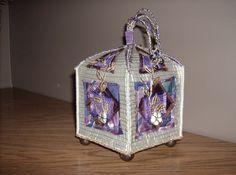 Fibre art box made with silks and leaf  trim
