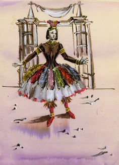 """Irene Sharaff costume sketch for the 1945 MGM film """"Yolanda and the Thief"""""""