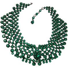 Made in Austria Green Rhinestone Collar Necklace from wrightglitz on Ruby Lane