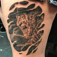 Photo by (sizzlebutts) on Instagram | #freddykrueger Horror Tattoos, Freddy Krueger, Piercings, Skull, Portrait, Instagram, Peircings, Piercing, Men Portrait