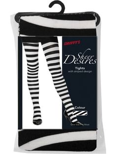 Tights White & Black Stripey. Fancy Dress Accessory. Scroll through the guides below to find sizes for Women's, Men's, Children's, Teen's, Babies and Shoes. CODE: 42761. For all costumes, sizes and matching accessories. | eBay!