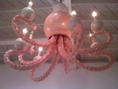 octopus chandelier (I wouldn't do pink but I'd def put it in the bathroom if it was bigger) My New Room, My Room, Octopus Lamp, Color Splash, Mermaid Room, D House, Deco Floral, My Dream Home, Light Up