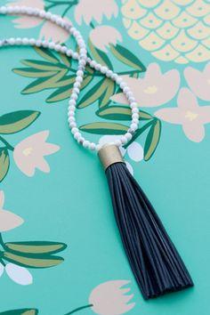Cloud Nine Creative - Leather Tassel Necklace - Marble