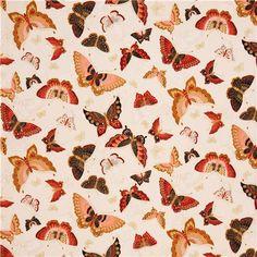 cream butterfly with gold fabric Robert Kaufman USA 2