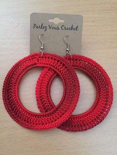 Items similar to Red Crochet Earringsred hoop earrings/lightweight crochet earrings on Etsy, Diy Abschnitt, Crochet Earrings Pattern, Crochet Jewelry Patterns, Crochet Accessories, Knitting Patterns, Crochet Necklace, Jewelry Accessories, Diy Earrings, Earrings Handmade, Handmade Jewelry