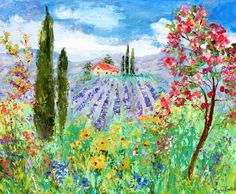 "Provence Lavender and Wildflowers by Karen's Fine Art – Gallery Represented Modern Impressionism in oils impasto canvas painting on gallery wrapped canvas Title: Provence Lavender and Wildflowers Original oil painting by Karen Tarlton Size: 24""x 20 Painting varnished for protection and enhancement Hand-Signed Certificate of Authenticity included * Sides are painted so framing is optional but not necessary. This original oil is painted in extreme texture impasto oils. A dramatic presence in…"