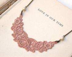 Blush antiguo encaje collar dulce perfecto para novia, boda, damas de honor y Formal