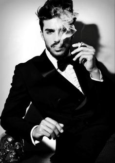 Mariano Di Vaio / Male Models Smoking Guy Black and White Photography