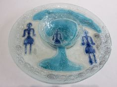 Mid-Century Modern Glass Plate And Bowl Signed, In The Manner Of: Higgins Glass