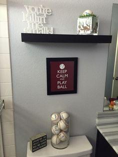 Baseball themed bathroom update
