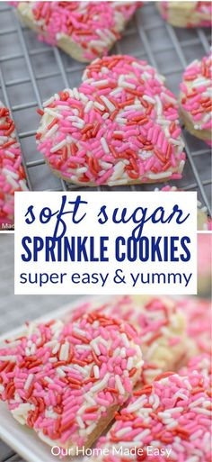 Super easy Valentine's Day cookies. They are soft and chewy and full of sprinkles! Click to see the sugar cookie recipe. #valentinesday #cookie