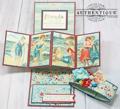 Pop-up Card for Your BFF - Authentique Sea-Maiden Collection Fancy Fold Cards, Folded Cards, Origami Templates, Box Templates, Trifold Shutter Cards, Pop Out Cards, Mail Art Envelopes, Vintage Birthday Cards, Interactive Cards