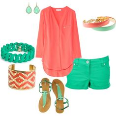 oh my....I LOVE this so much!! These colors are perfect together, coral and teal outfit.