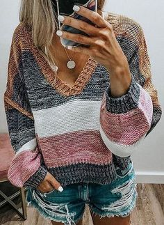 VITryst Women Loose Knitted Jumper Casual V Neck Fall Winter Pullover Sweaters Casual Sweaters, Sweaters For Women, Knit Sweaters, Pullover Sweaters, Pullover Mode, Legging Outfits, Color Block Sweater, Color Stripes, Striped Knit
