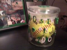 Put A Softball In Glass Jar With All The Players Names Numbers On It And Decorate Outside Cute Gift For Senior