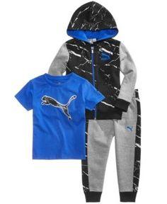 Puma 3-Pc. Full-Zip Hoodie, T-Shirt & Jogger Pants Set, Toddler Boys (2T-5T) - Gray 2T