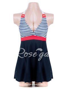Backless Sleeveless V-Neck Self-Tie Design Striped Women's Swimwear