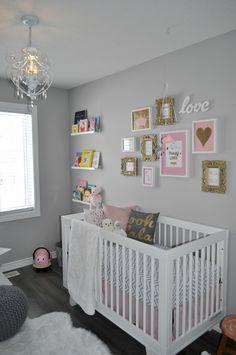 Nursery room, pink and grey nursery baby girl, pink gold nursery, white nur Baby Girl Nursery Pink And Grey, Gold Nursery, Nursery Twins, Baby Boy Rooms, Baby Bedroom, Nursery Room, Girls Bedroom, Nursery Decor, Nursery Ideas