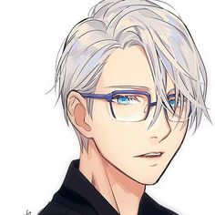 Viktor again with Yuuri's glasses