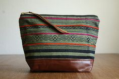 The Geometori Pouch ///// Neon Tribal Bag.  Brown by gracedesign