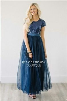 d2bd2dcf5aa Modest bridesmaids and modest prom dress. Navy sequins with navy tulle full length  dress.