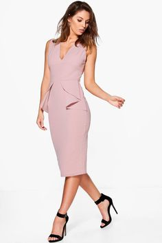 8336ae19632a Ellie Fold Peplum Waist Formal Midi Dress