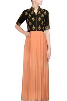 Gowns, Black and peach kundan jacket maxi set