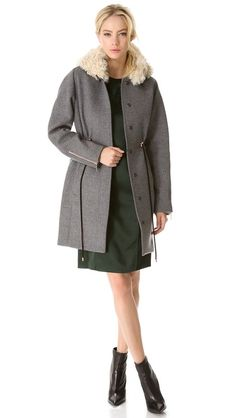 Cedric Charlier Hooded Fur Coat with Drawstrings 2690