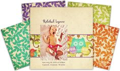Celebrate the arrival of your little one(s) with these neutral owl-themed invitations. Choose from four featured colors – purple, turquoise/teal, green/lime, and orange.