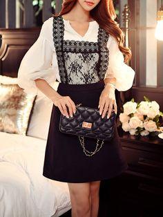 #AdoreWe #StyleWe Dresses - DABUWAWA Black A-line Guipure Lace Square Neck Spaghetti Mini Dress - AdoreWe.net