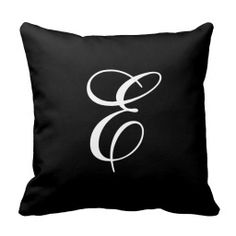 Elegant Black and White Monogram Throw Pillow