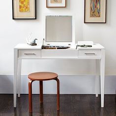 Great for makeup/jewelry/hair that is nice for a small bedroom / Narrow-Leg Vanity on #westelm