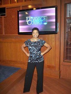 "Judge Lynn Toler on the set of ""Divorce Court"" Season 14."