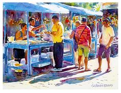 "Fish stall 2 by Graham Berry Watercolor ~ 12"" x 16"""