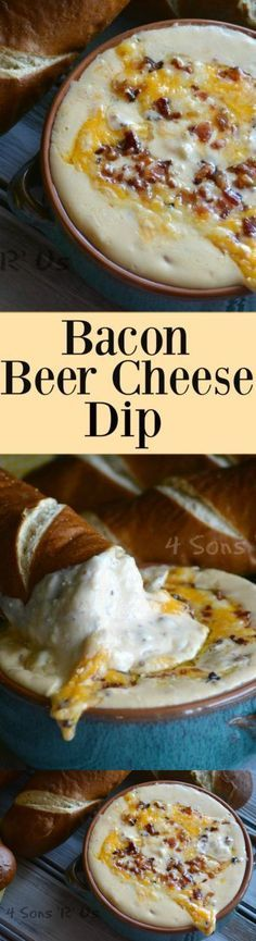 Bacon Beer cheese dip 12 lb of bacon strips chopped 1 tbsp butter 12 white onion diced 1 tbsp Dijon mustard 1 tbsp stone ground mustard 8 oz cream cheese softened 1 12 ou. Beer Cheese, Cheddar Cheese, Cheese Dips, Cheese Snacks, Easy Cheese, Cheese Sauce, Appetizer Dips, Appetizer Recipes, Dip Recipes