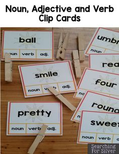 Noun, verb, and adjective clip cars and other hands-on SUMMER literacy centers