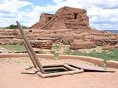 Pecos National Historical Park, New Mexico.  About 25 minutes from Santa Fe.  This is a preserved/restored pueblo and missionary church.  There's an easy paved path through the site, with lots of historical info on a map they give you to use while there.  Great mountain views.
