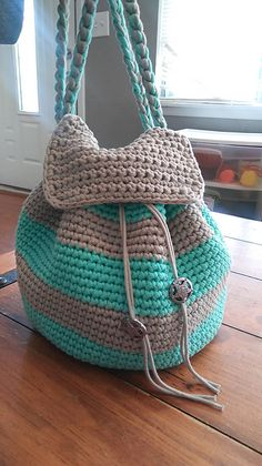 Ravelry: Slouchy Stripes Backpack pattern by Amanda Slate--free pattern on her blog