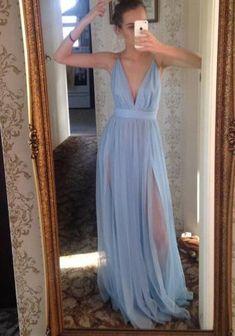 Sky Blue Floor Length Deep V neck Prom dress, FS201